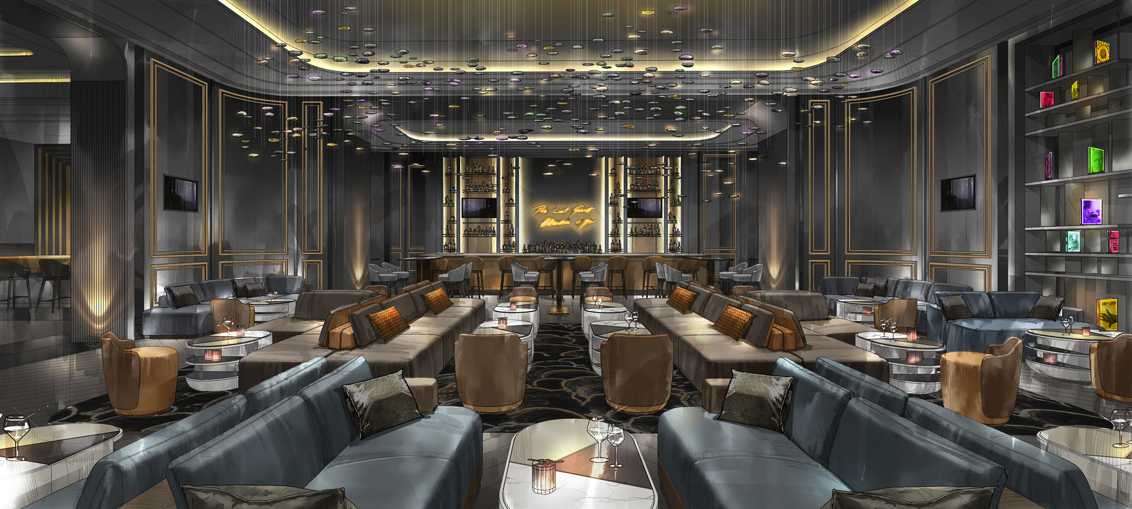 An engaging newcomer on the casino floor, the Bar Lounge & High Limit at the revitalized Palms Casino and Resort is a contemporary expression of the classic library lounge.