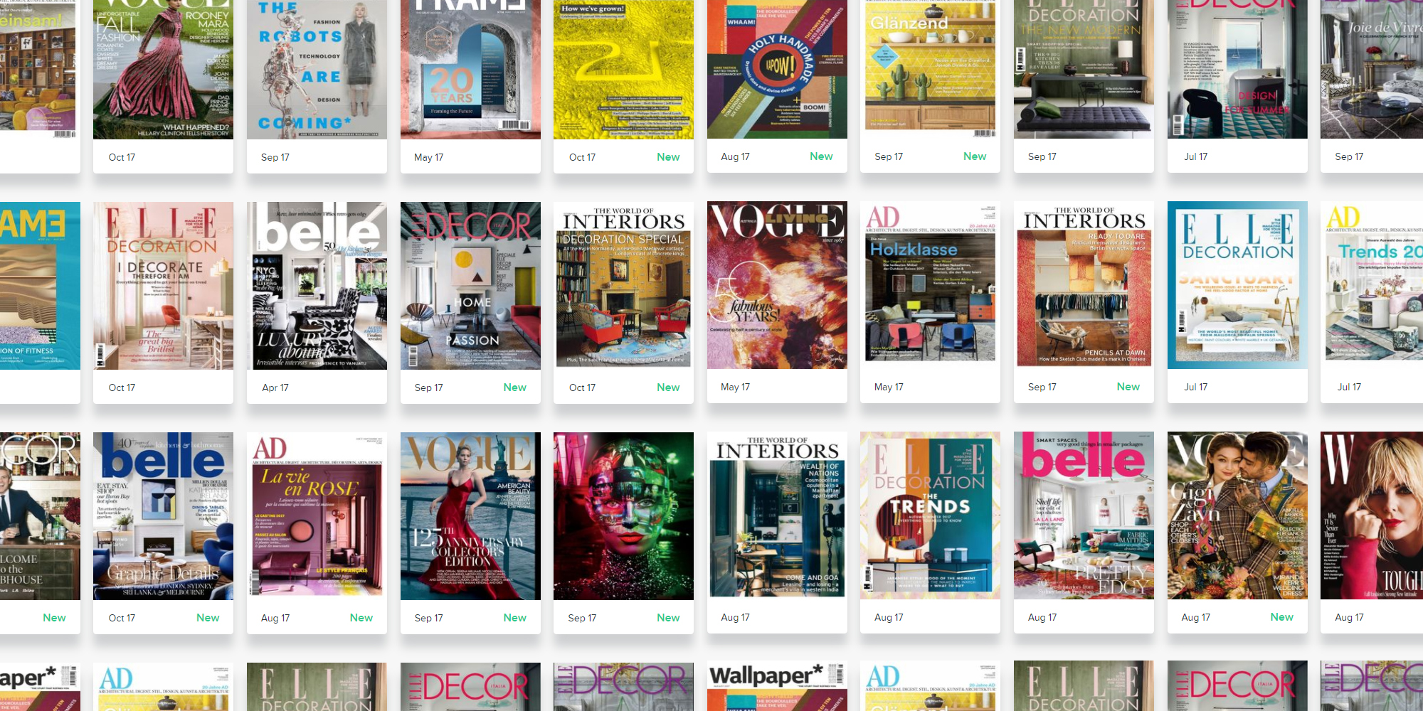 Featuring some of the world's best publications from Wallpaper* to AD, Elle Decor, Vogue and W, stay inspired with Zinio.